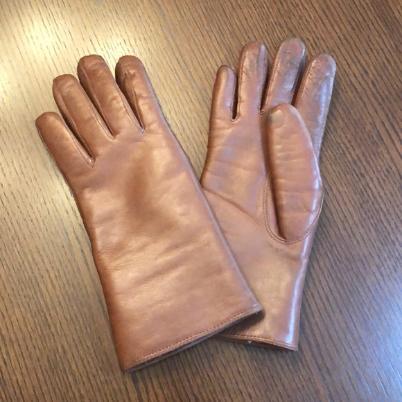 Coach Leather and Shearling Gloves Tan Medium